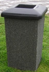 35 Gallon Square Stone Aggregate Waste Receptacle