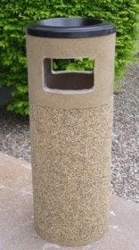 "38"" Round Stone Combination Waste Receptacle/ Ashtray"