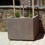 2 foot Square Concrete Planter with Toe Kick