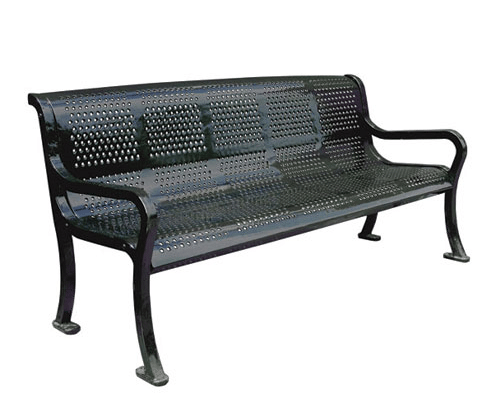 Metal Roll Perforated Bench Metal Benches Site Furnishings