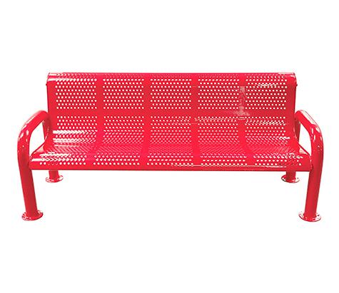 Metal U-Leg Perforated Bench